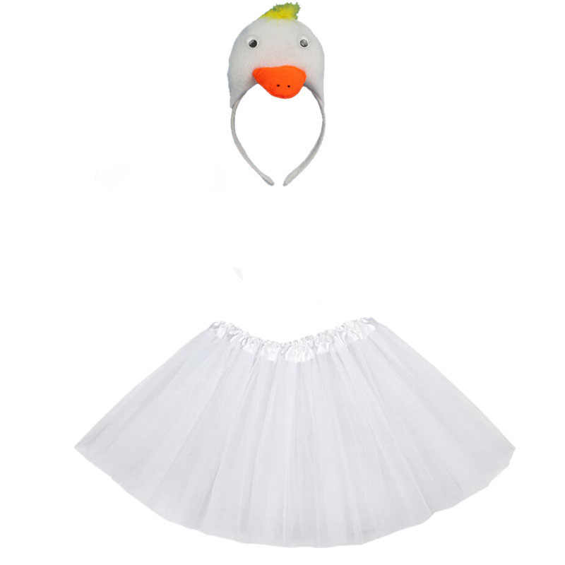 Pato blanco Cosplay animales traje de los niños fiesta de cumpleaños de Niña Accesorios carnaval/diadema cola corbata Tutu falda
