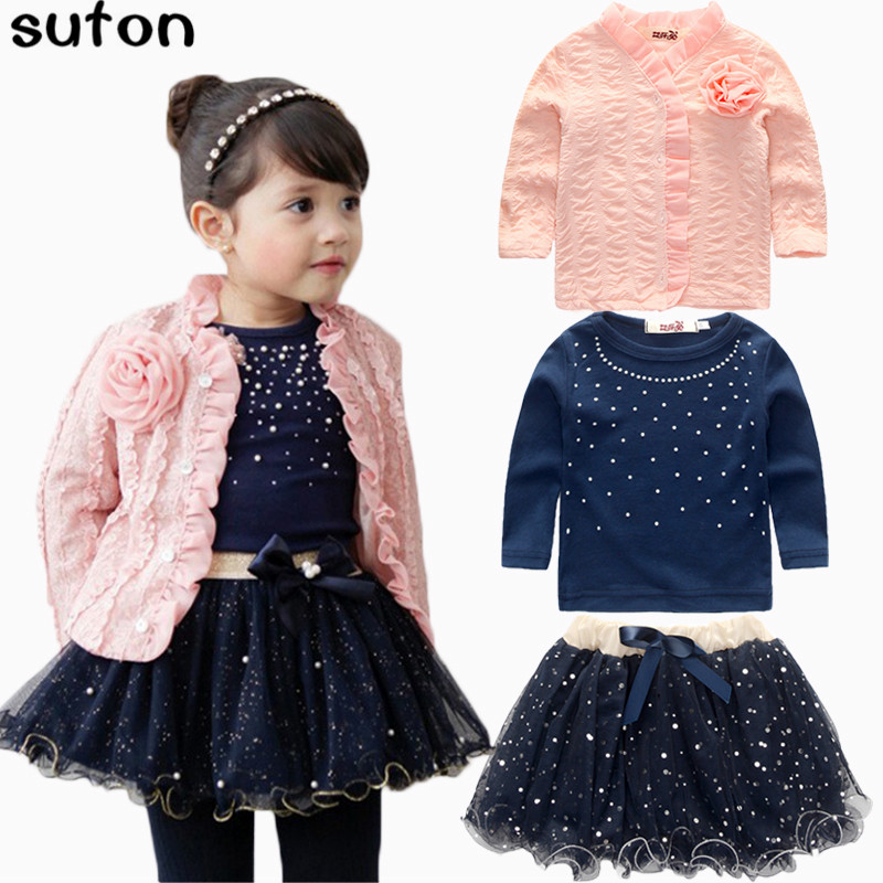 suton Spring Winter Baby Girls Clothing Sets 3 Pieces Suit Girls Flower Coat + Blue T Shirt + Tutu Skirt Girls Clothes 2-7 Years 2016 spring girls clothes girls clothing sets new arrival female child flower print o neck pullover short skirt set baby twinset