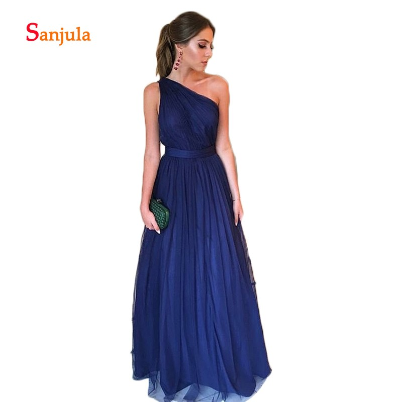 Navy Blue Tulle A-Line   Bridesmaid     Dresses   One Shoulder Pleats Elegant Prom   Dresses   Long Waist Ribbons Wedding Guest   Dresses   D147