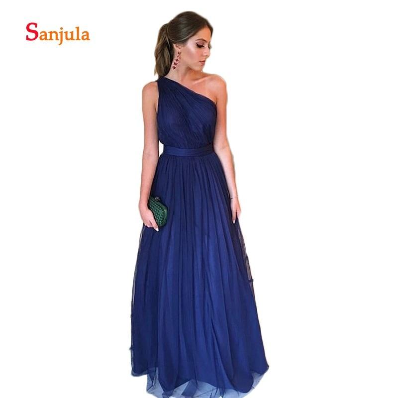 Navy Blue Tulle A-Line   Bridesmaid     Dresses   One Shoulder Pleats Elegant Prom   Dresses   Long Waist Ribbons Wedding Guest   Dresses   D147