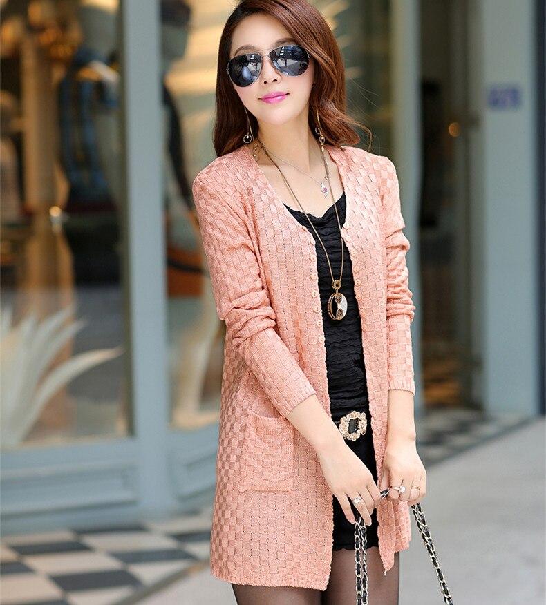 Women Sweater Long Cardigan Fashion Summer Style Long Sleeve Thin ...
