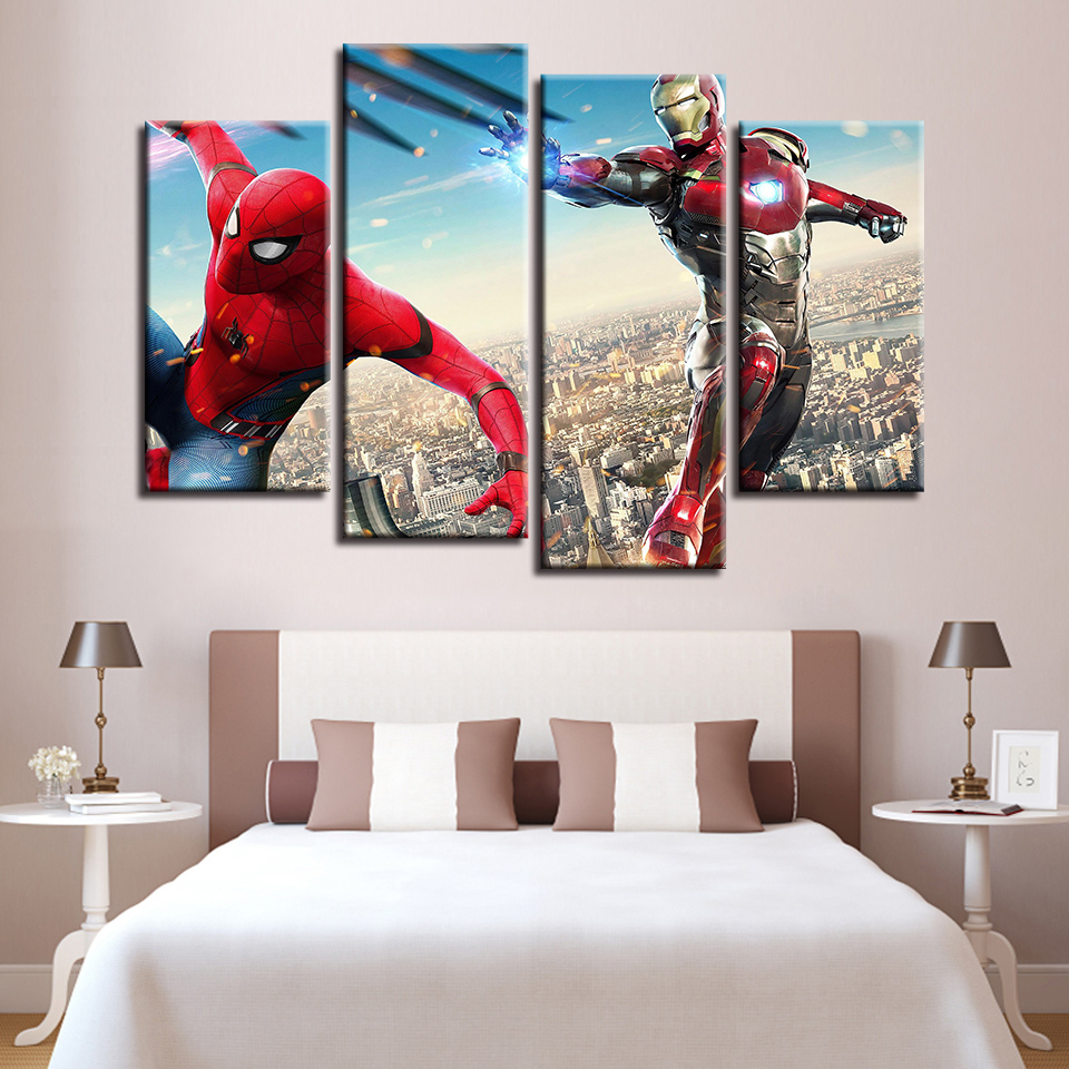 Canvas Wall Art Pictures Home Decor Spider Man Iron Man ...