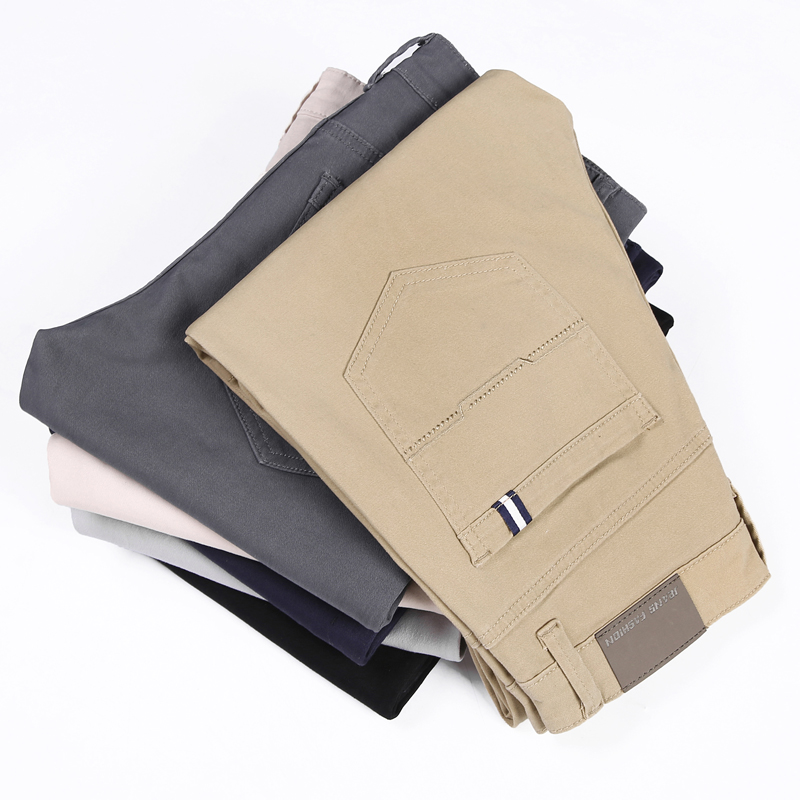 Image 2 - 6 цветов, повседневные мужские брюки, весна 2019, новинка, бизнес стиль, модные, повседневные эластичные прямые брюки, мужские, брендовые, серые, белые, хаки, темно синие-in Повседневные брюки from Мужская одежда