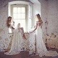 2017 Barato Praia Boho Vestido de Noiva Verão Sexy Rendas Arco Vestido De Noiva Nupcial Feito Sob Encomenda da Luva do tampão Backless 2016 Boemia vestidos