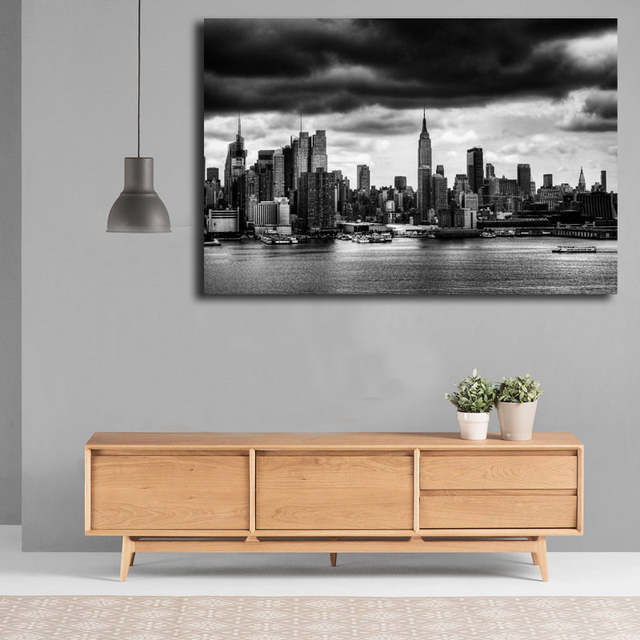 US $5 7 5% OFF|Views Of New York City Skyline Black And White Canvas  Posters Prints Wall Art Painting Decorative Picture Modern Home  Decoration-in