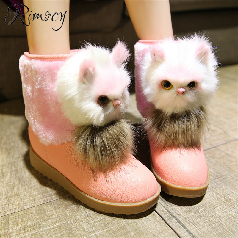 RIMOCY Cat boots women 2018 winter Snow Boots woman Waterproof Non-slip Plush Warm bota nieve love mujer flat heel bottes femme недорго, оригинальная цена