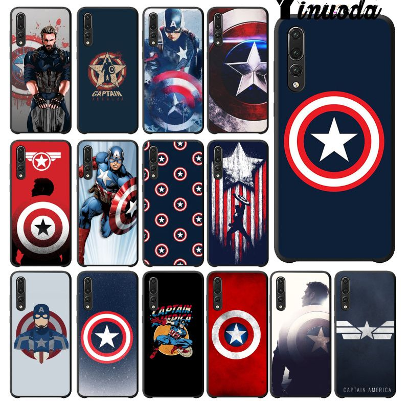 Yinuoda Marvel movie hero captain America Silicone black Phone Case for Haiwei P10 plus Honor 9 10 View 10 Mate 9 Coque Shell image