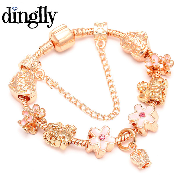 Dinglly Rose Gold Pandora Bracelet With Best Mom Beads Christmas Gift Charm For Women