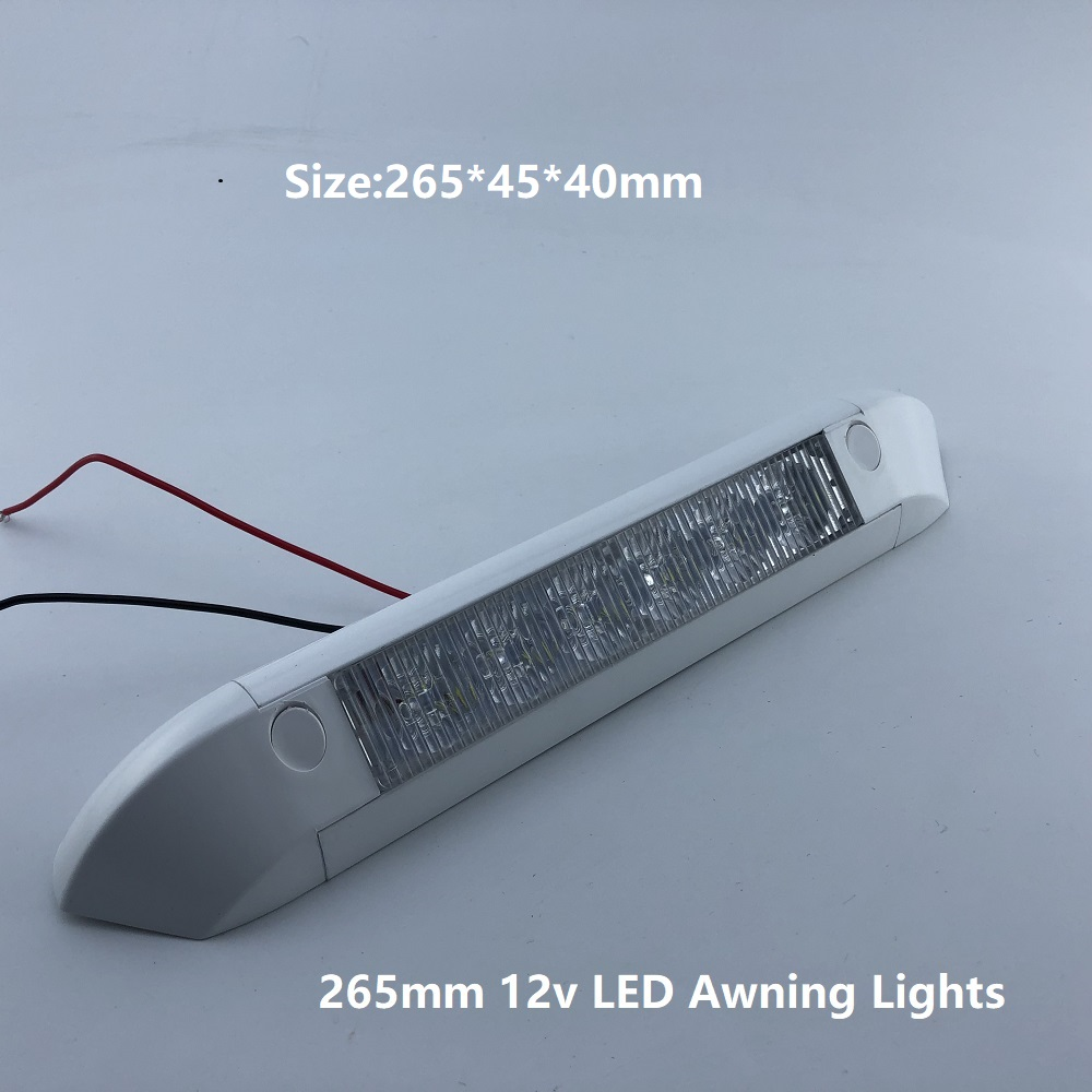 265mm 12v LED Awning Lights Waterproof RV Trailer 6000K Exterior Camping Bar/Wall Lamps Heavy Duty Off Road Motorhome Caravan