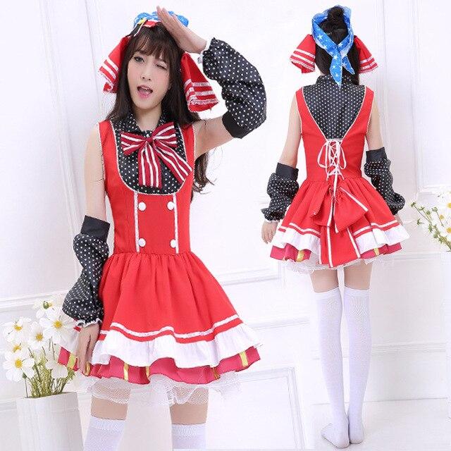 Japanese Anime Love Live School Idol Project Maki Lolita Girls Fancy Candy Maid  Dress Cosplay Costumes