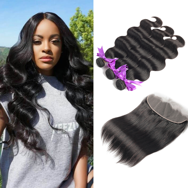 Allrun Body Wave Bundles With Frontal with Brazilian Hair Weave Bundles Non Remy Human Hair Bundles With Closure Hair Extensions