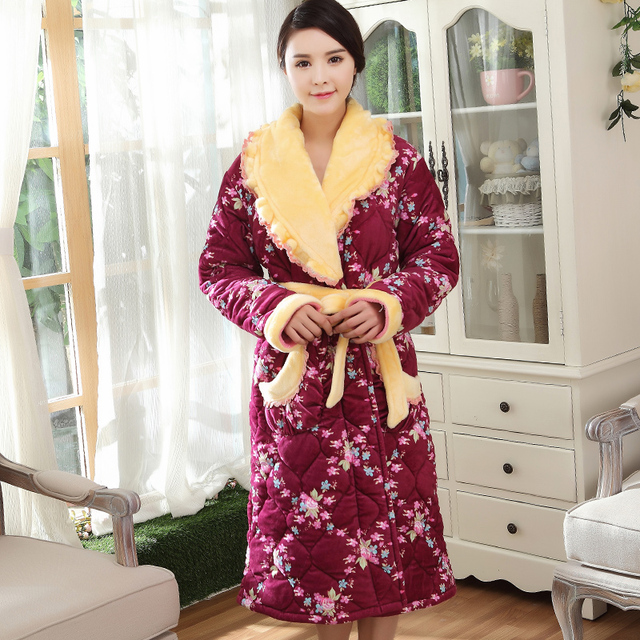 New arrival women s clothing women knitting quilted robe thick long spa robe  lady s bathrobe winter sleepwear 1a7199175