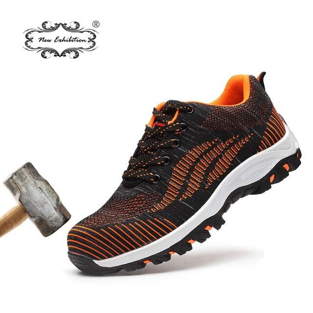 Yeni sergi Erkekler Güvenlik Ayakkabı Uçan örgü balık net saya nefes Anti-Smashing Delinme Için Iş Çelik Burunlu çizmeler ayakkabı