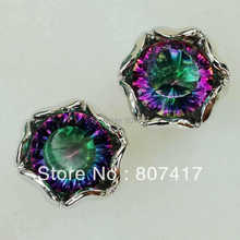 SHUNXUNZE charm Rainbow and White Cubic Zirconia Silver Plated Earring E739 Romantic Style Women Jewelry Gift Engagement Wedding