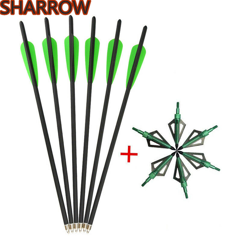 "12pcs Carbon Arrow Bolts 16//20/"" SP400 with Orange yellow feather for Archery"