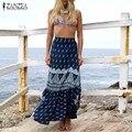 ZANZEA Women Skirts 2016 Autumn Sexy Beach Long Skirt Ladies Vintage Pattern Print High Waist Side Split Trumpet Casual Skirt
