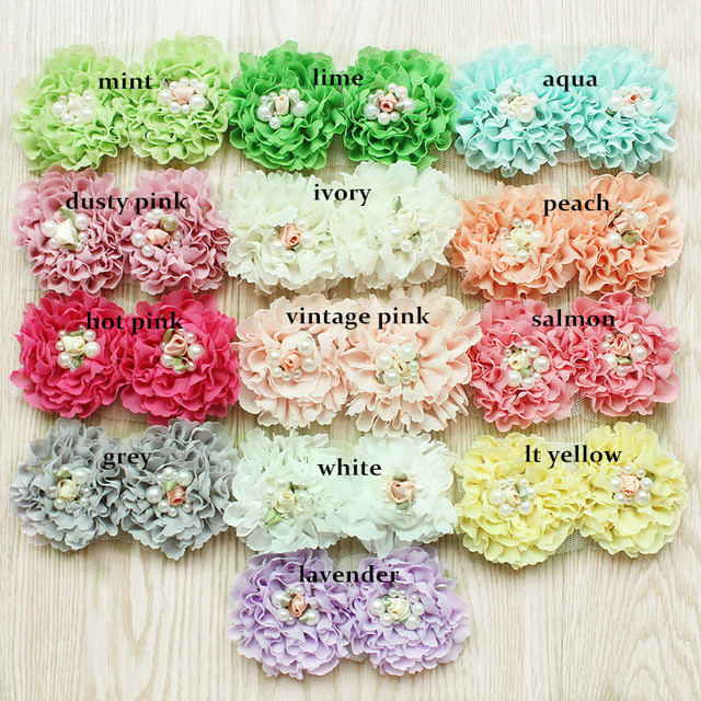 120 pz/lotto, shabby chiffon fiori con la perla per le ragazze accessori per capelli fascia accessori