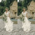 Wedding Dress Two Pieces Scoop Neck Delicate Custom Cap Sleeve Sweep Train Lace High Quality Bridal Gowns  Dresses