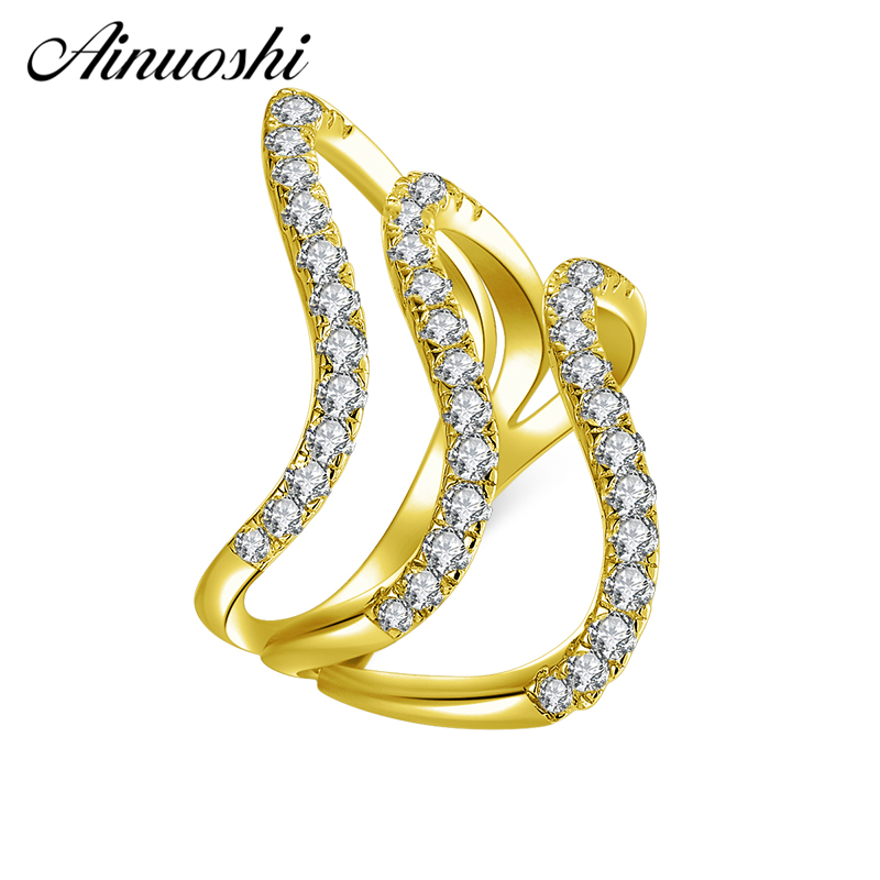 AINUOSHI 10K Solid Yellow Gold Wave Twisted Band Cluster Weaving Bague Bridal Ring Wedding Engagement Ring Jewelry for Women MenAINUOSHI 10K Solid Yellow Gold Wave Twisted Band Cluster Weaving Bague Bridal Ring Wedding Engagement Ring Jewelry for Women Men