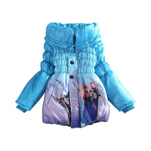 2016Winter Jacket For Girls Parka Snow Queen Clothes Elsa Jacket Girls Long Winter Coat Children Down Jacket For Girl Snowsuit
