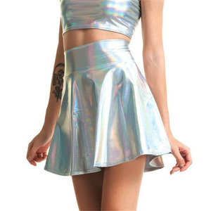 Image 2 - Womens Shiny Mini Skirt 2019 Metallic Wet Liquid Faux Leather Look Flared Pleated A Line Circle Solid Skater Skirts 7 Colors