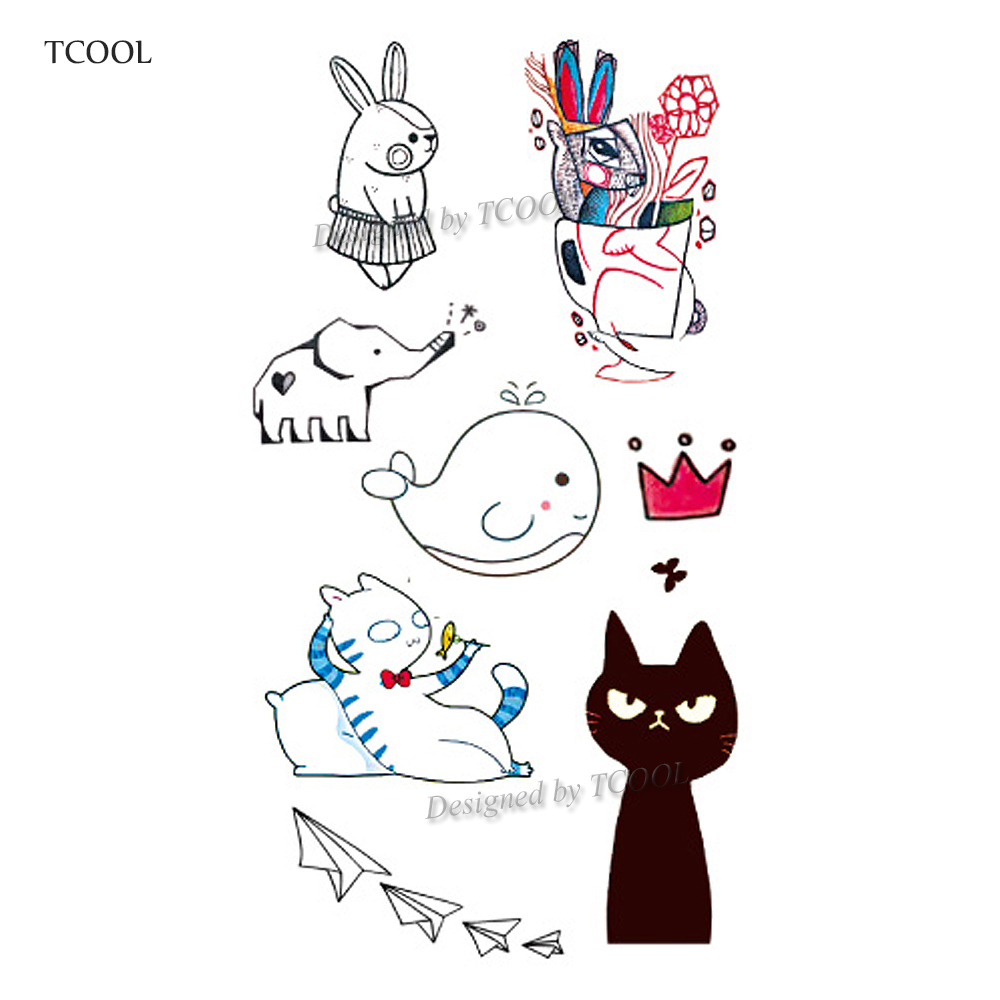 HXMAN Cartoon Cat Kids Temporary Tattoos Waterproof Fashion Fake Body Art Tattoo Sticker 10.5X6cm Girl Hand Tatoo MX-027