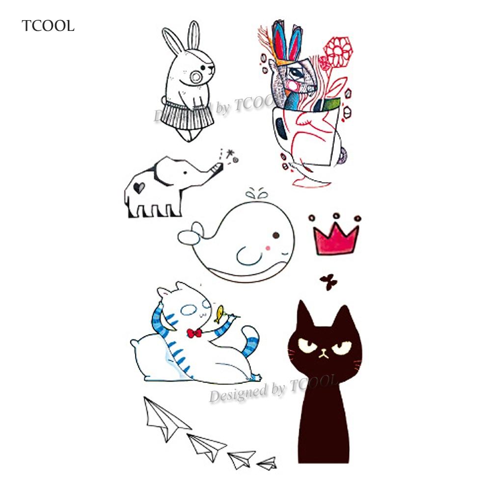 HXMAN Cartoon Cat Kids Temporary Tattoos Waterproof Fashion Fake Body Art Tattoo Sticker 10.5X6cm Girl Hand Tatoo MX-027