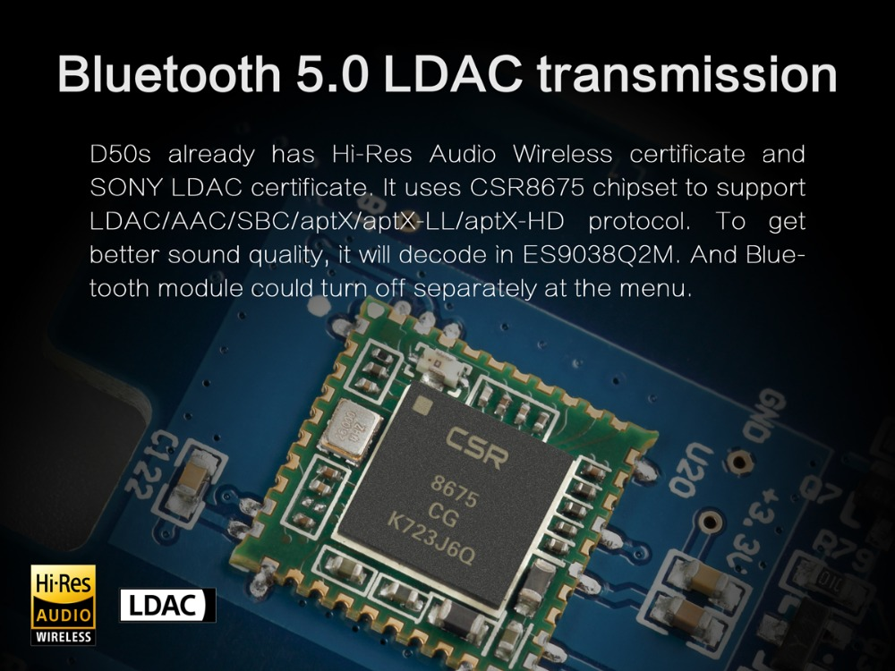 TOPPING D50S Bluetooth 5.0 ES9038Q2M AUDIO Decoding USB DAC-04