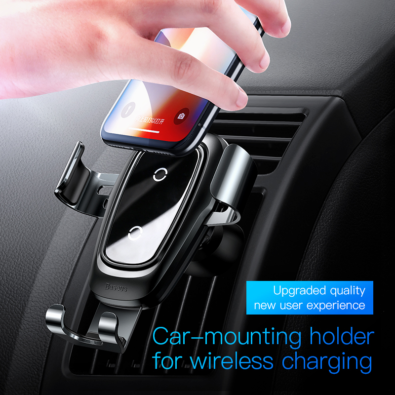 Baseus car phone holder 10w qi wireless charger for iPhone X Samsung S10 S9 S8 phone holder car phone charger in air vent