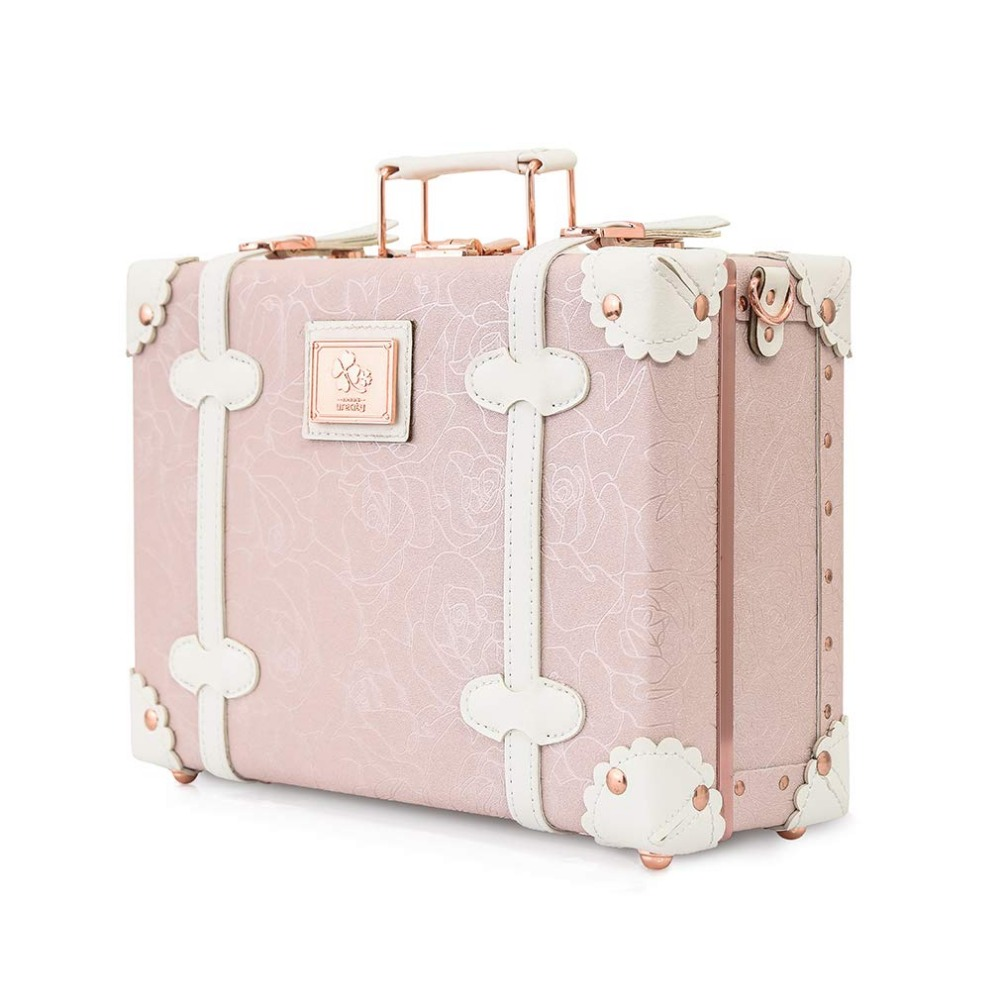 2019 Vintage Suitcase Carry On Case Hardside Rolling Spinner Retro Style For Travel Hand Case