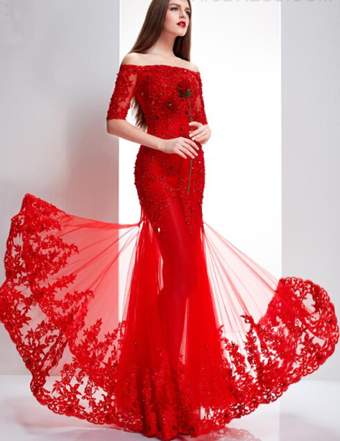 Chinese Red Prom Dresses Boat Neck Off The Shoulder Half Court Train