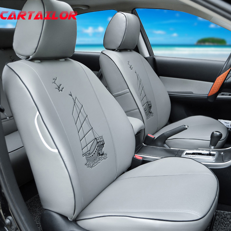 Cartailor Seat Covers For Ford Edge Car Seat Cover Pu Leather Accessories Set Auto Seat Cushion Supports Black Seats Protection