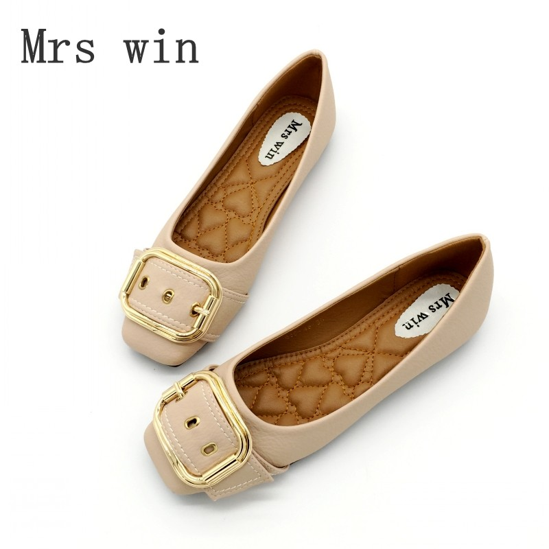 Mrs Win Autumn Women Shoes Square Toe Ballet Flats Females Soft Work Driving Slip-On Woman's Flats Ladies Single Shoes Plus Size bowtie ballet flats women sweet casual single shoes summer soft open toe sandals slip on fashion ladies large size 41 moccasins