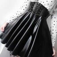 SUCHCUTE femmes jupes gothique Harajuku pansement Faux cuir mode coréenne noir Mini jupes plissées 2019 été fête Pu Saias
