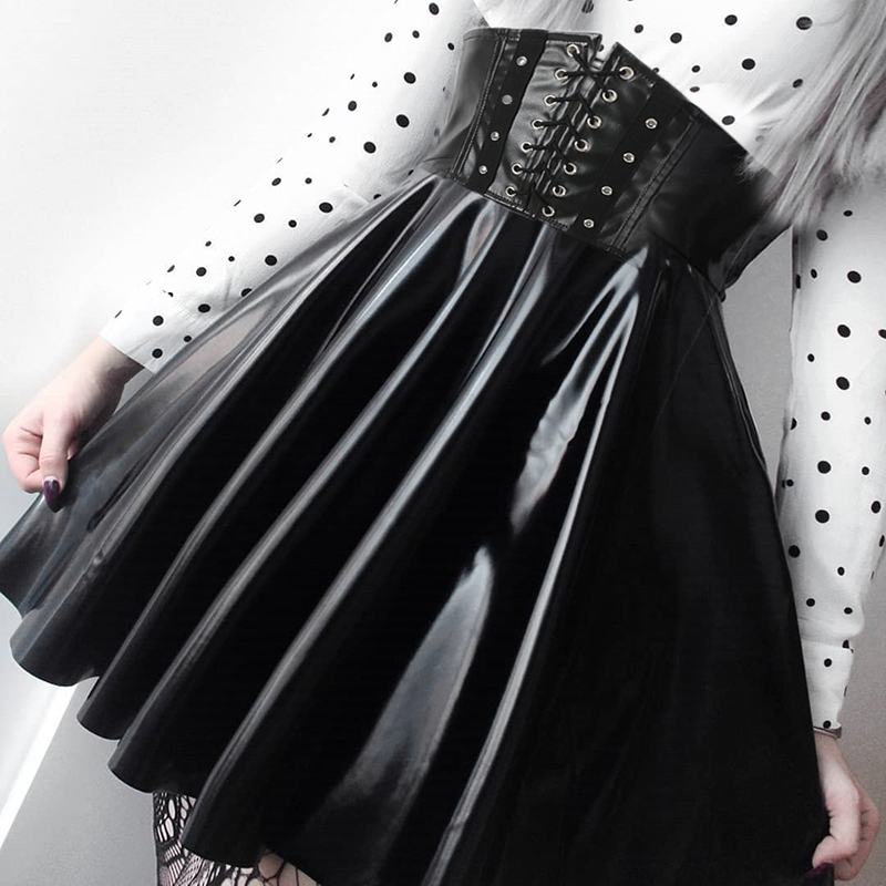 SUCHCUTE Women's Skirts Gothic Harajuku Bandage Faux Leather Korean Fashion Black Mini Pleated Skirts 2019 Summer Party Pu Saias