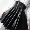 SUCHCUTE frauen Röcke Gothic Harajuku Verband Faux Leder Koreanischen Mode Schwarz Mini Plissee Röcke 2020 Sommer Party Pu Saias