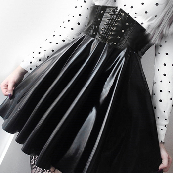 SUCHCUTE Women's Skirts Gothic Harajuku Bandage Faux Leather Korean Fashion Black Mini Pleated Skirts 2020 Summer Party Pu Saias