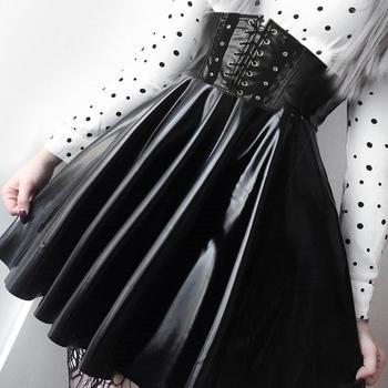 SUCHCUTE spódnice damskie Gothic Harajuku bandaż Faux Leather koreański moda czarne spódnice plisowane mini 2019 Summer Party Pu Saias tanie i dobre opinie Plisowana NONE WOMEN D3714W11 empire Stałe Powyżej kolana Mini