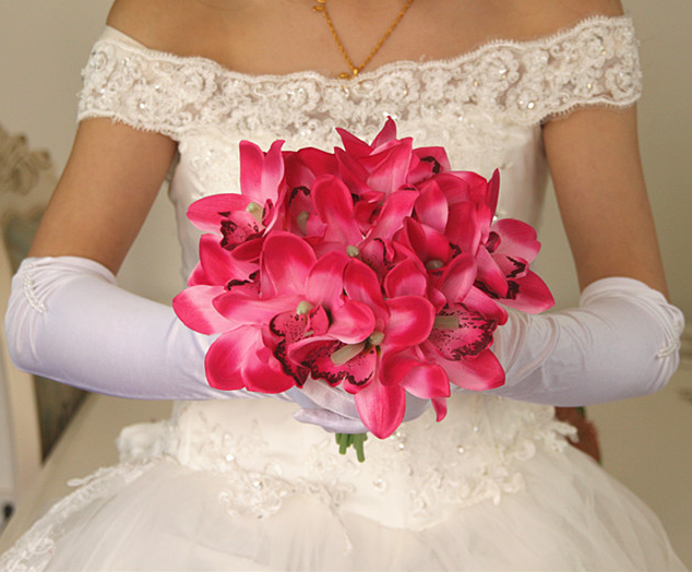 Cymbidium bouquet holding flowers bouquets Artificial bride hand tie flowers