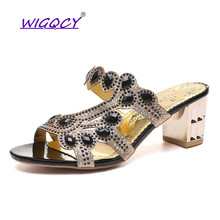 2018 Summer New Women Fashion Crystal Sandals Thick High Heels Shiny Flip Flops Outside Casual Rhinestone Rome Shoes Woman 35-41