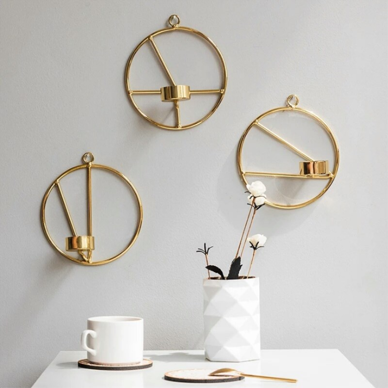 Modern Art Wall Hanging Candle Holder Gold Sconce Round ...