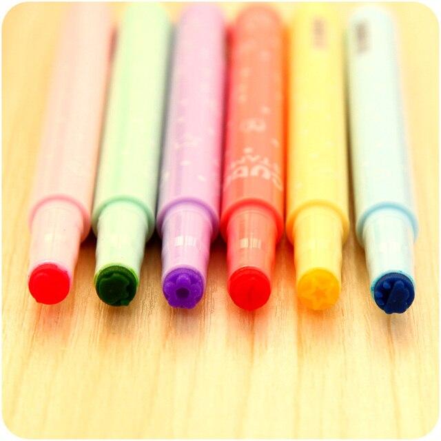 6 Pcs Stamper Marker Paint Pen Stamp Star Smile Heart Lip Flower Apple Cloud Different Colours