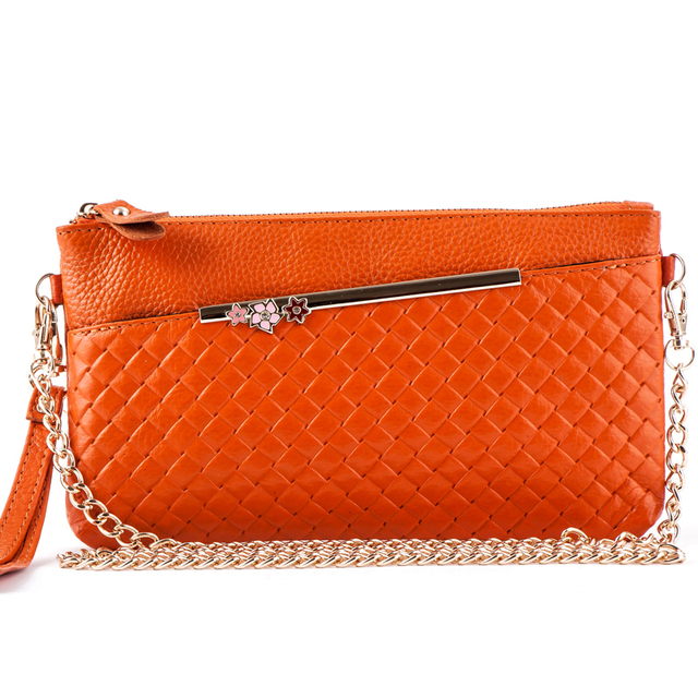 women bag Fashioan clutches designer handbags knitting chains women clutch bag genuine leather bag dollar price ladies hand bags