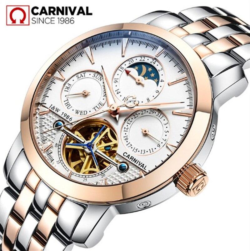 2016New Carnaval Tourbillon montres entiérement en acier de luxe hommes automatique mécanique montre étanche lune phase militaire marque montre