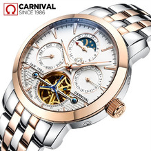 2016New Carnival Tourbillon full steel watches luxury men automatic mechanical Waterproof watch moon phase military brand montre