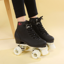 Roller Skates Two Line Roller Skate Lady Adulto black White wheels black Shoes Metal base polyurethane wheel,free shipping