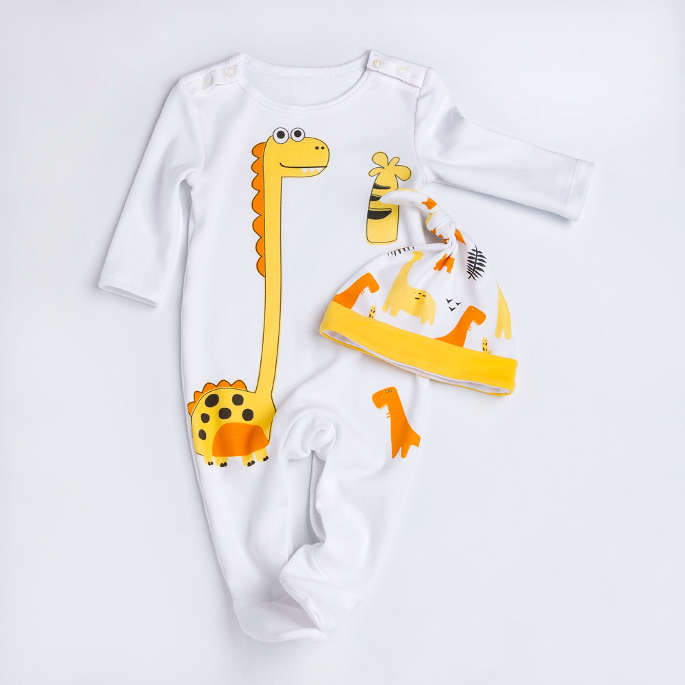 YK&Loving Dinosaur Pattern Baby Bodysuit Newborn 100%Cotton Romper White Baby Clothes High Quality Soft Material Clothes
