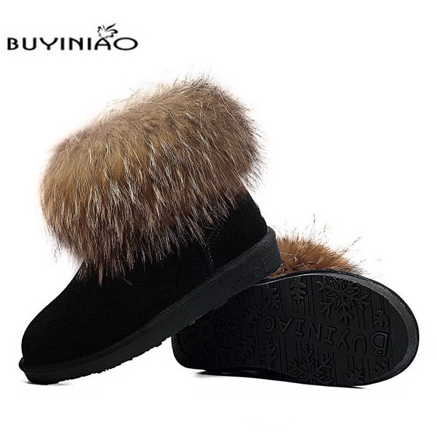 Free shipping 2017 Women Fur Ankle Slip-on Snow Boots Round Toe Flat Winter Thick Cheap Botas Inverno Sweet Womens Shoes 145hfx hee grand women snow boots winter flat panda pattern shoes woman fur cotton slip on snow ankle boots size 35 40 xwx4498
