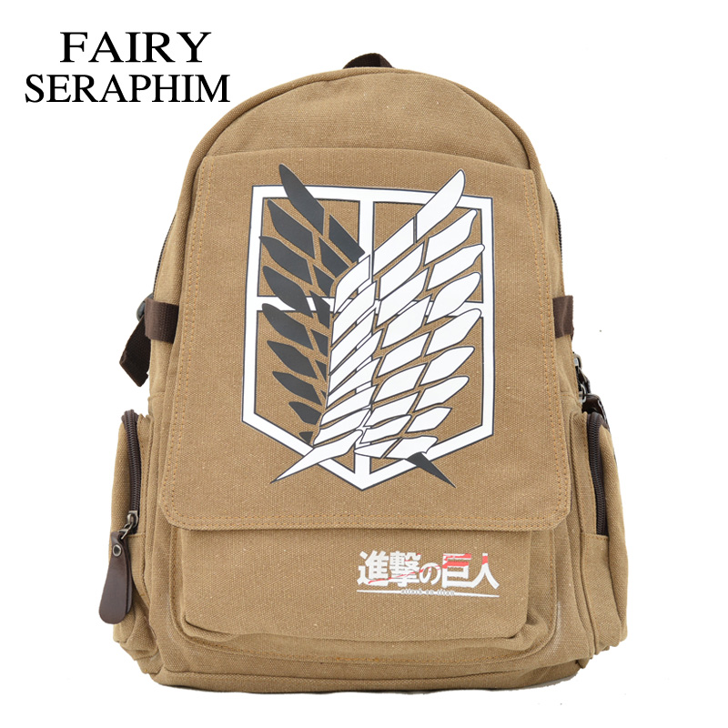 Fairy Seraphim Attack On Titan Backpack Canvas Printing Japanese Anime Bag Teenagers Rucksack Children Mochila Schoolbag