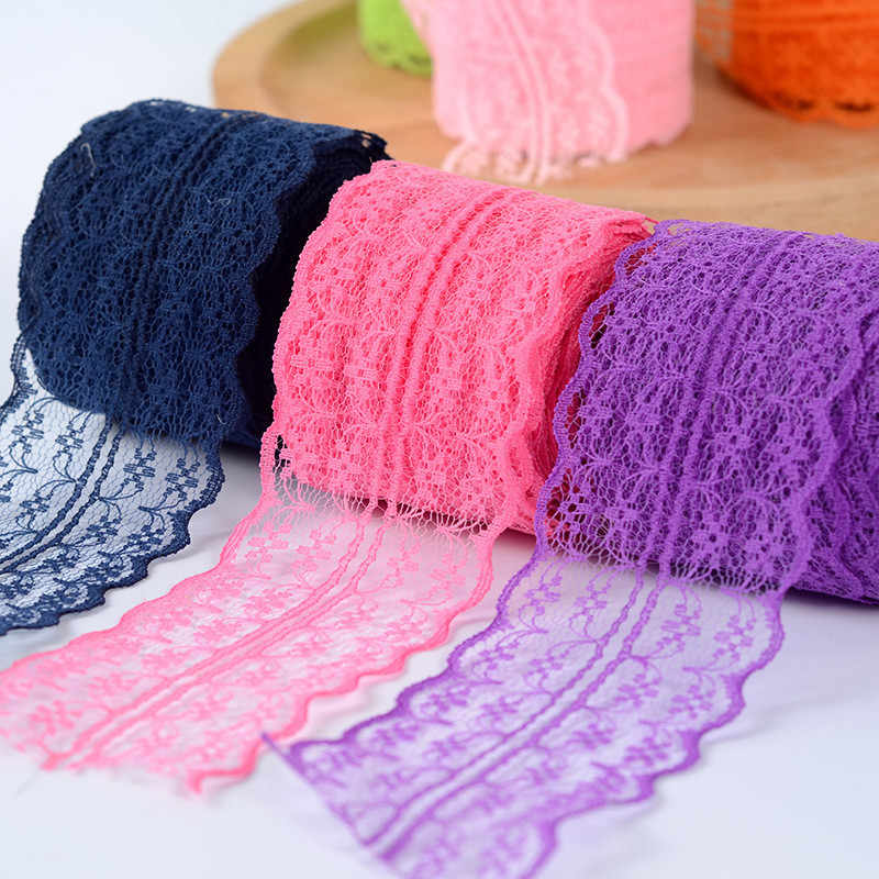 4.5CM Lace Ribbon Tape Trim Fabric DIY Embroidered Net Cord For Sewing Decoration African Lace Fabric Handmade Materials